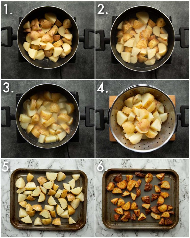 6 step by step photos showing how to make salt and vinegar potatoes