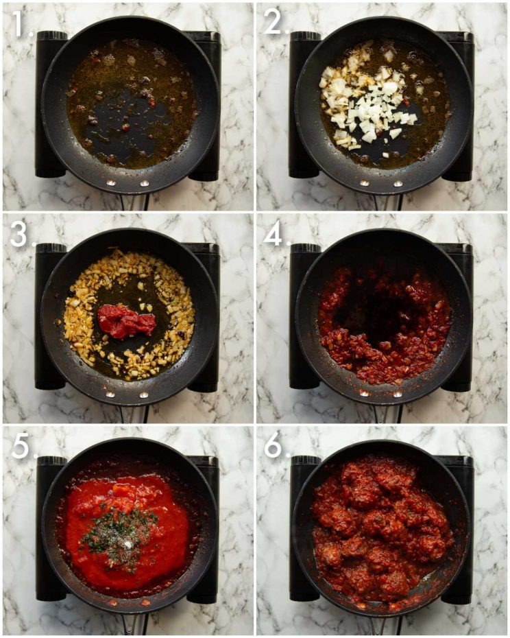 6 step by step photos showing how to make skillet meatballs