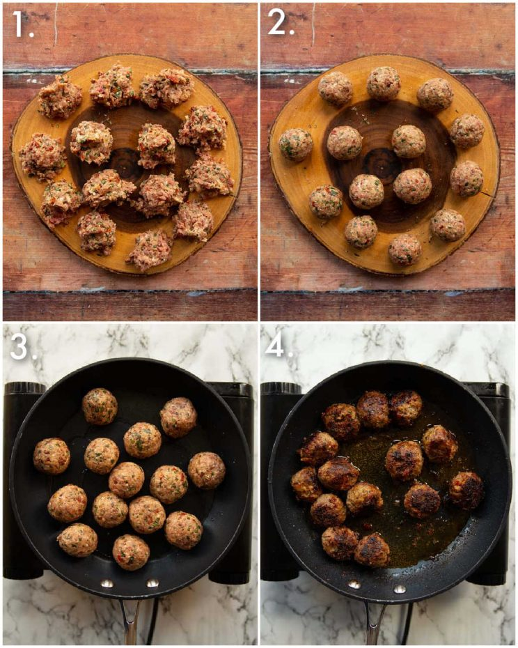 4 step by step photos showing how to pan fry meatballs