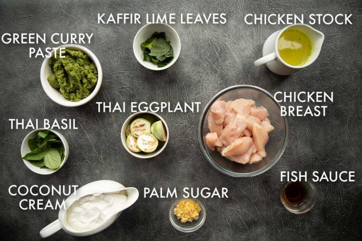 chicken Thai green curry ingredients with labels