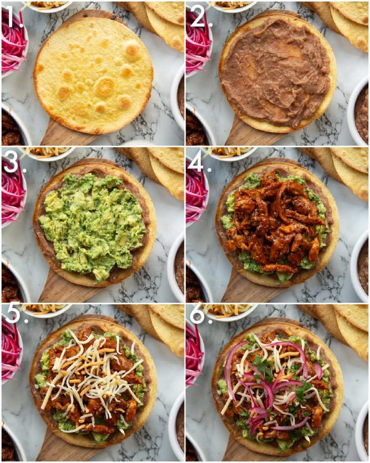 6 step by step photos showing chicken tostada toppings