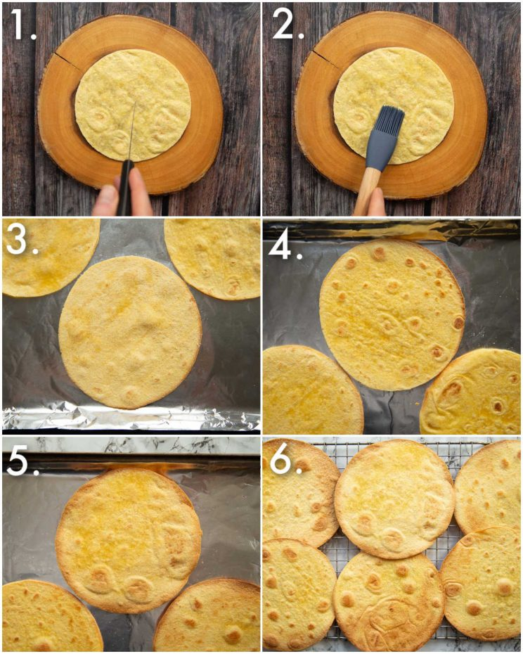 6 step by step photos showing how to bake tostadas shells
