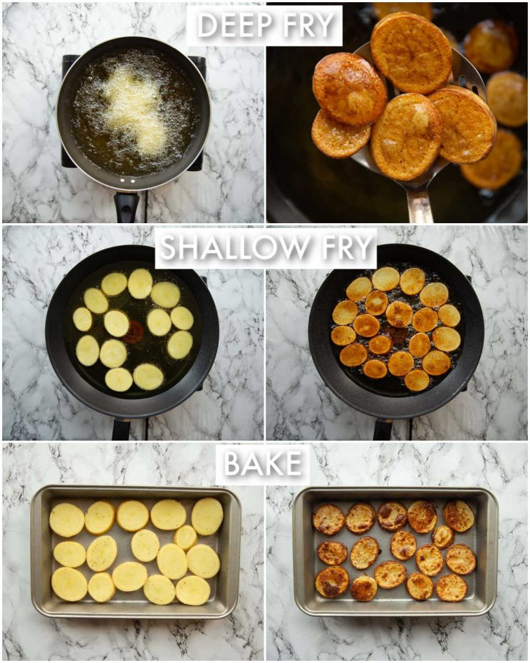 6 step by step photos showing how to cook potatoes for nachos