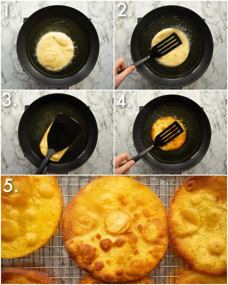 5 step by step photos showing how to fry tostada shells