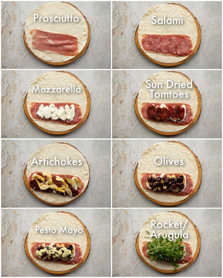 8 step by step photos showing how to make antipasto wraps