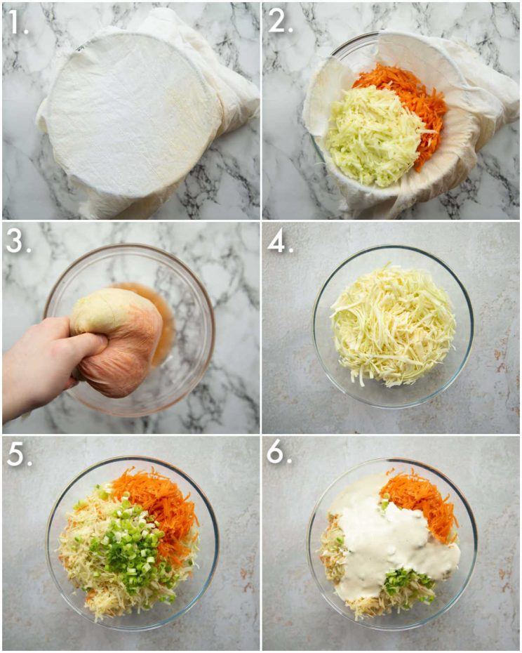 6 step by step photos showing how to make apple slaw