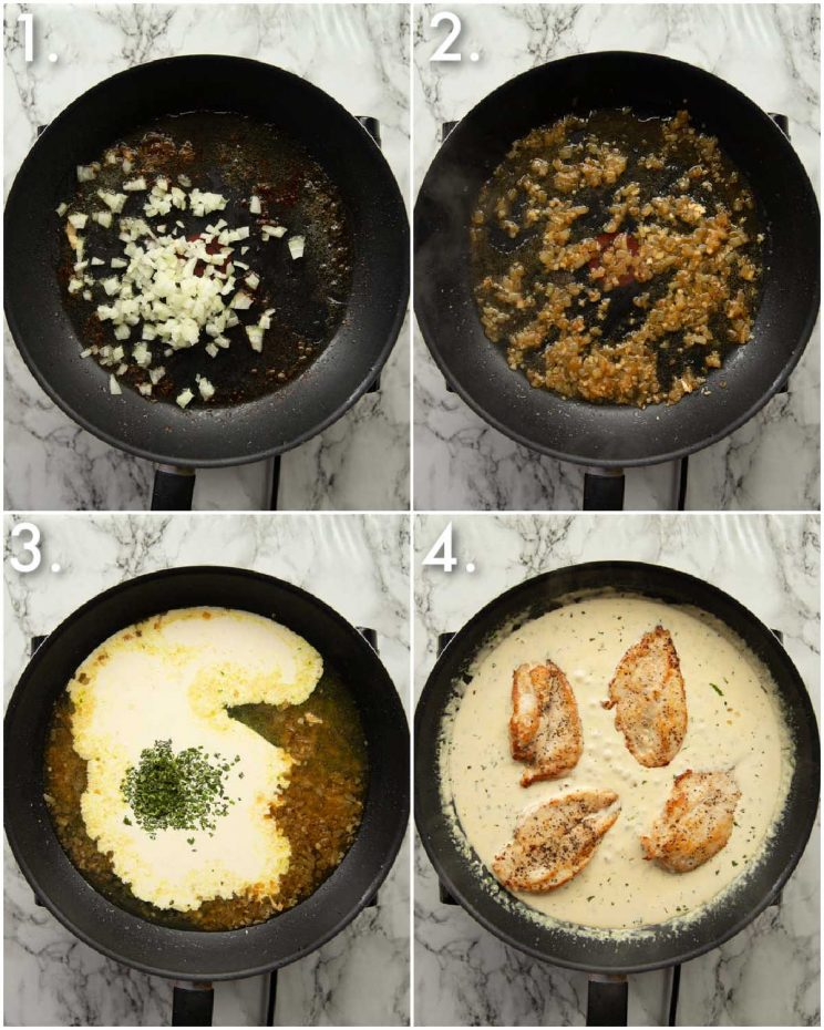 4 step by step photos showing how to make creamy tarragon sauce for chicken