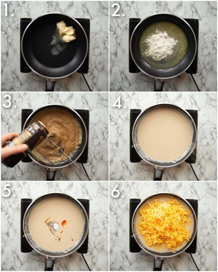 6 step by step photos showing how to make Guinness cheese sauce