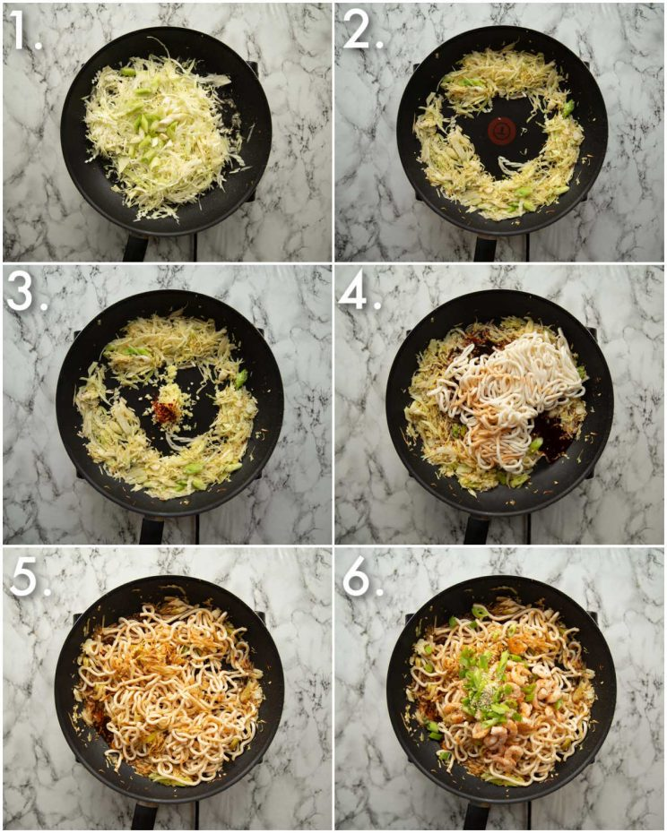 6 step by step photos showing how to make spicy prawn noodles