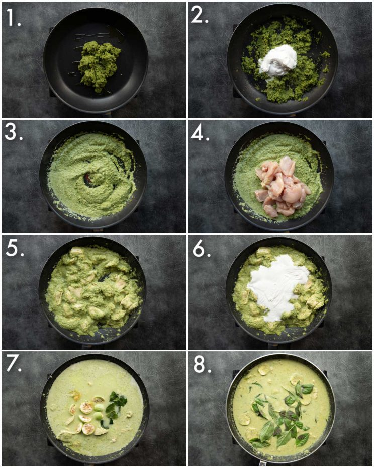 8 step by step photos showing how to make Thai green curry
