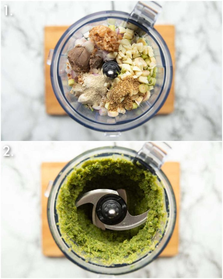 2 step by step photos showing how to make Thai green curry paste