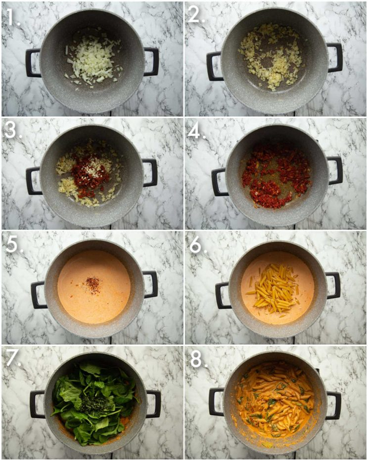 8 step by step photos showing how to make tomato spinach pasta