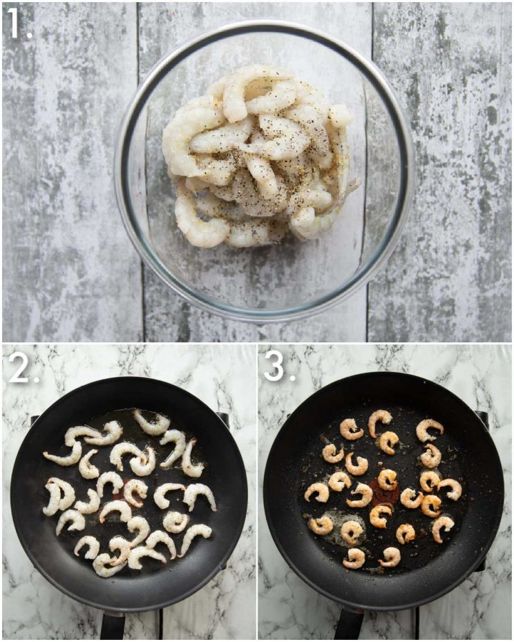 3 step by step photos showing how to pan fry prawns