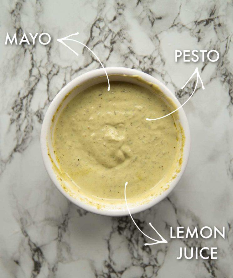 labelled photo showing pesto mayo ingredients