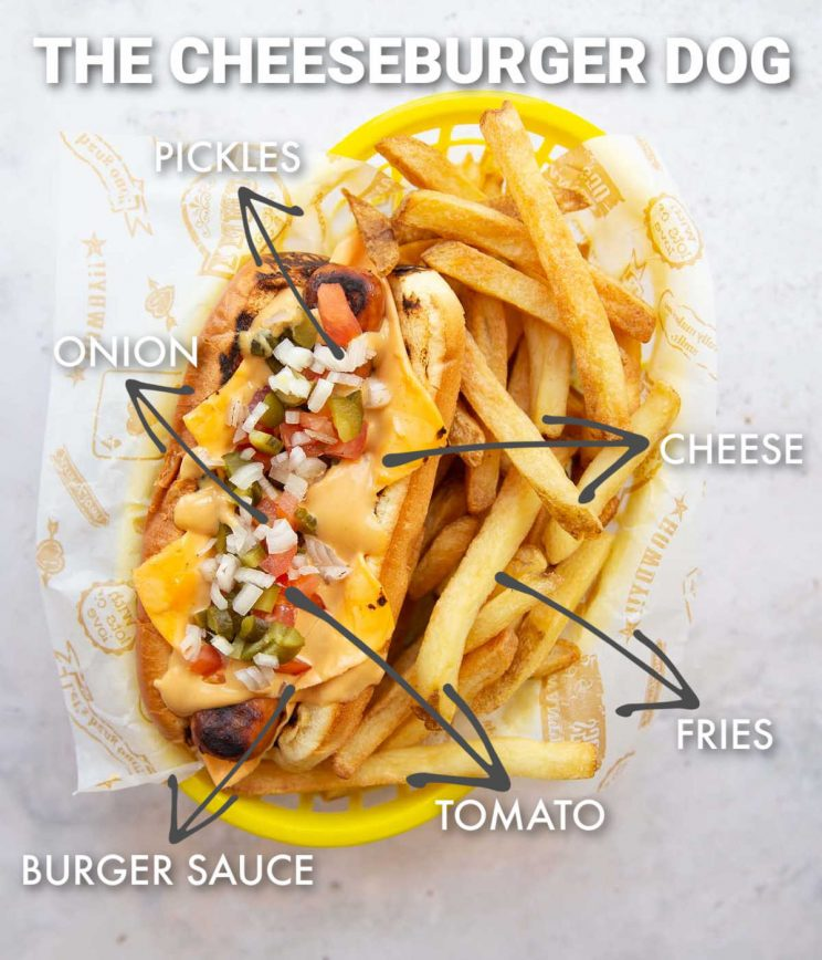 overhead shot of cheeseburger hot dog with labelled ingredients