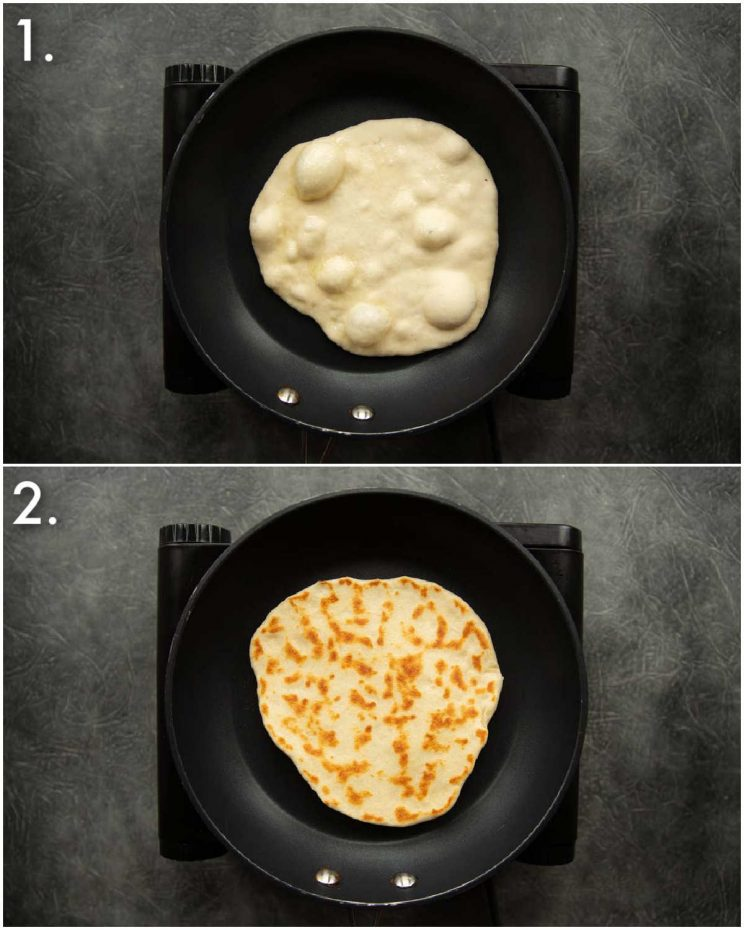 2 step by step photos showing how to fry flatbreads