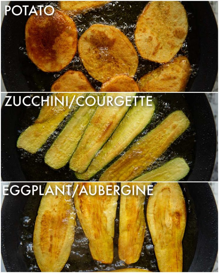 3 step by step photos showing how to fry vegetables for moussaka