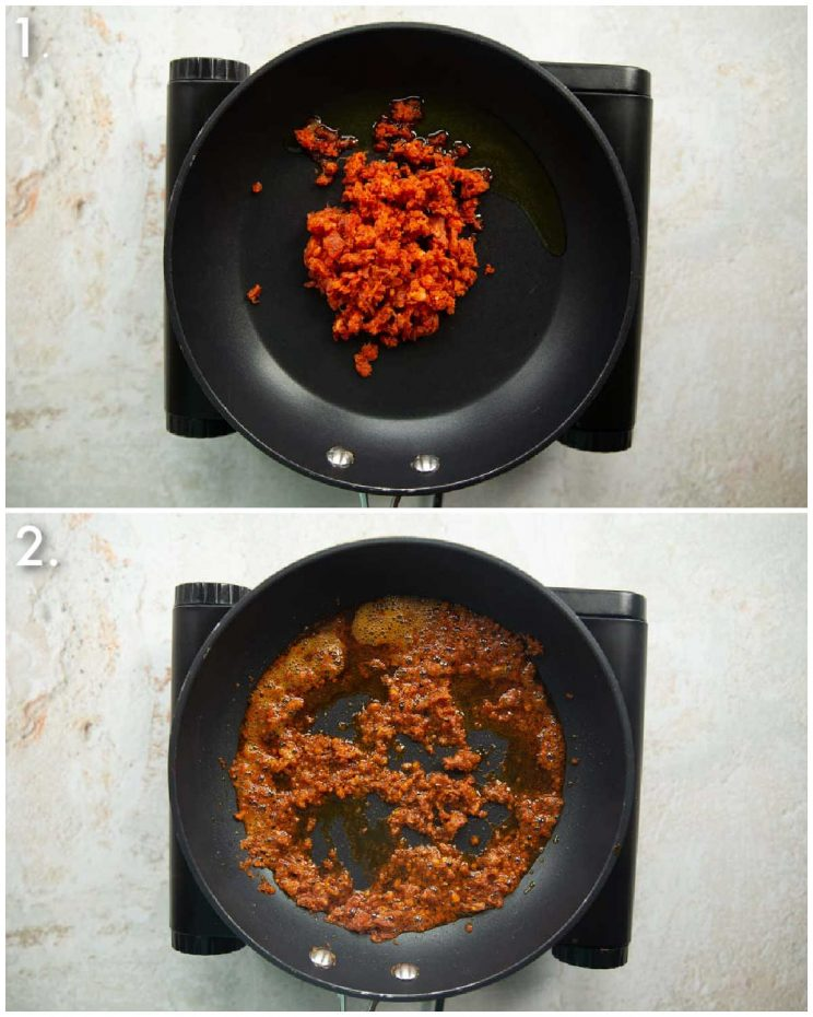 2 step by step photos showing how to make a chorizo crumb