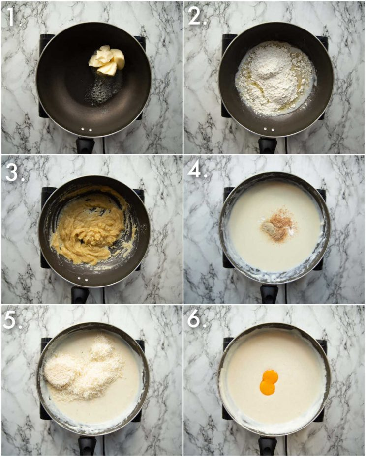 6 step by step photos showing how to make bechamel sauce for moussaka