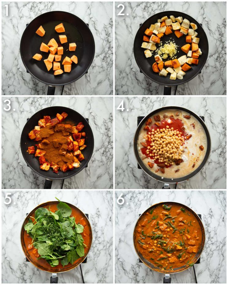 6 step by step photos showing how to make halloumi curry