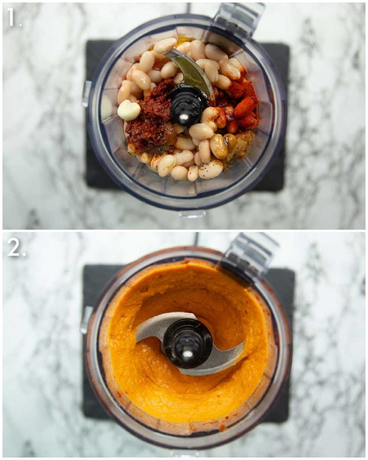 2 step by step photos showing how to make harissa white bean dip