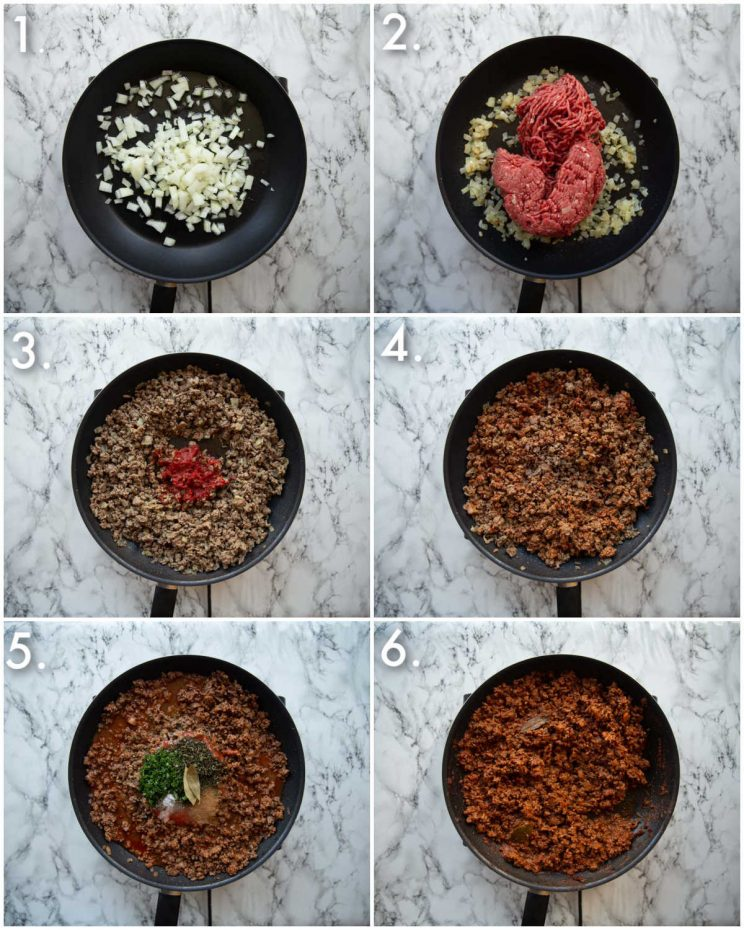 6 step by step photos showing how to make meat sauce for moussaka