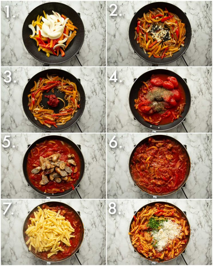 8 step by step photos showing how to make sausage and peppers pasta