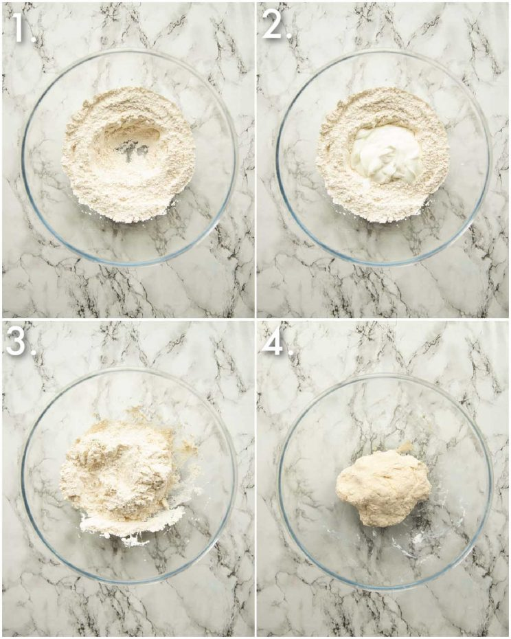4 step by step photos showing how to prepare flatbreads