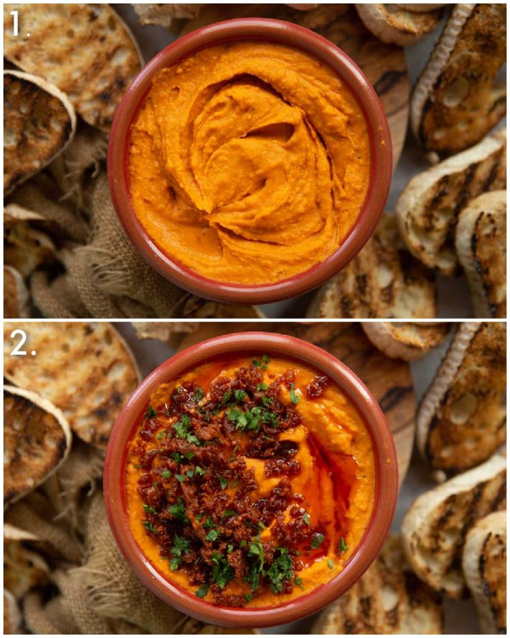 2 step by step photos showing how to serve harissa white bean dip