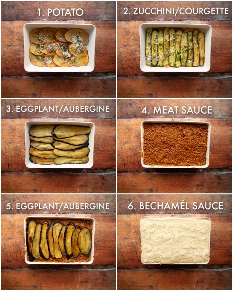 6 step by step photos showing how to stack moussaka