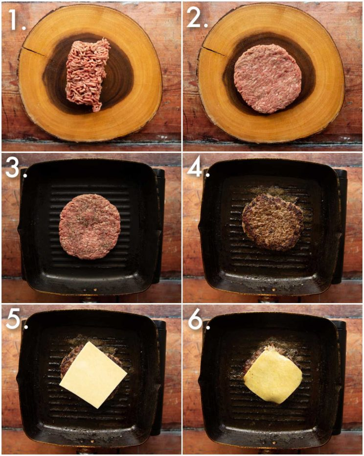 6 step by step photos showing how to make a cheeseburger patty