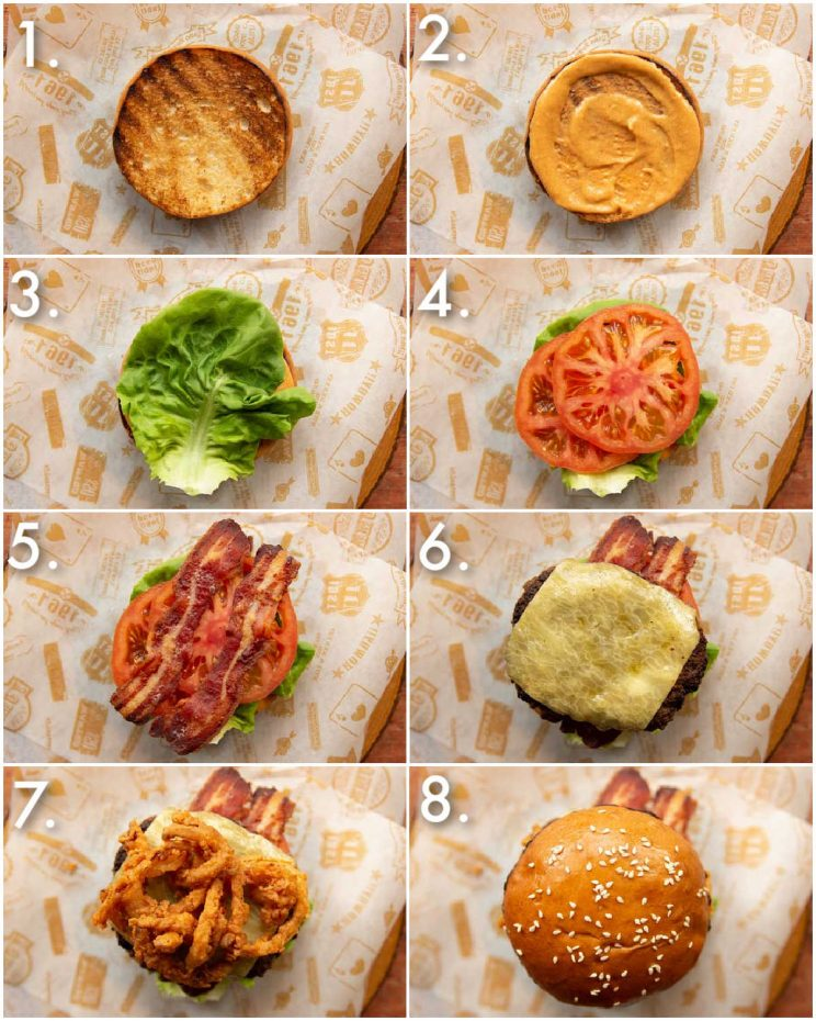 8 step by step photos showing how to make cowboy burgers