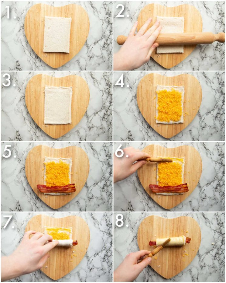 8 step by step photos showing how to make grilled cheese roll ups