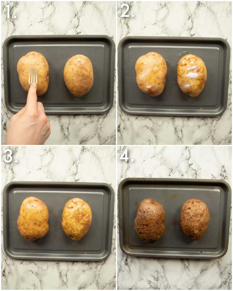 4 step by step photos showing how to bake a potato