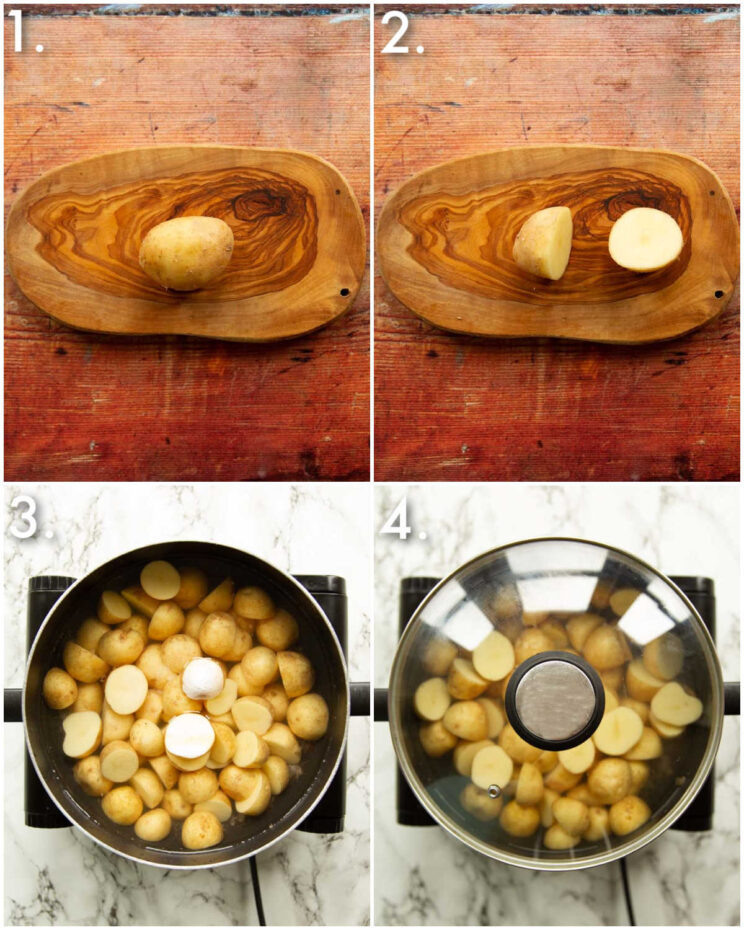 4 step by step photos showing how to boil baby potatoes
