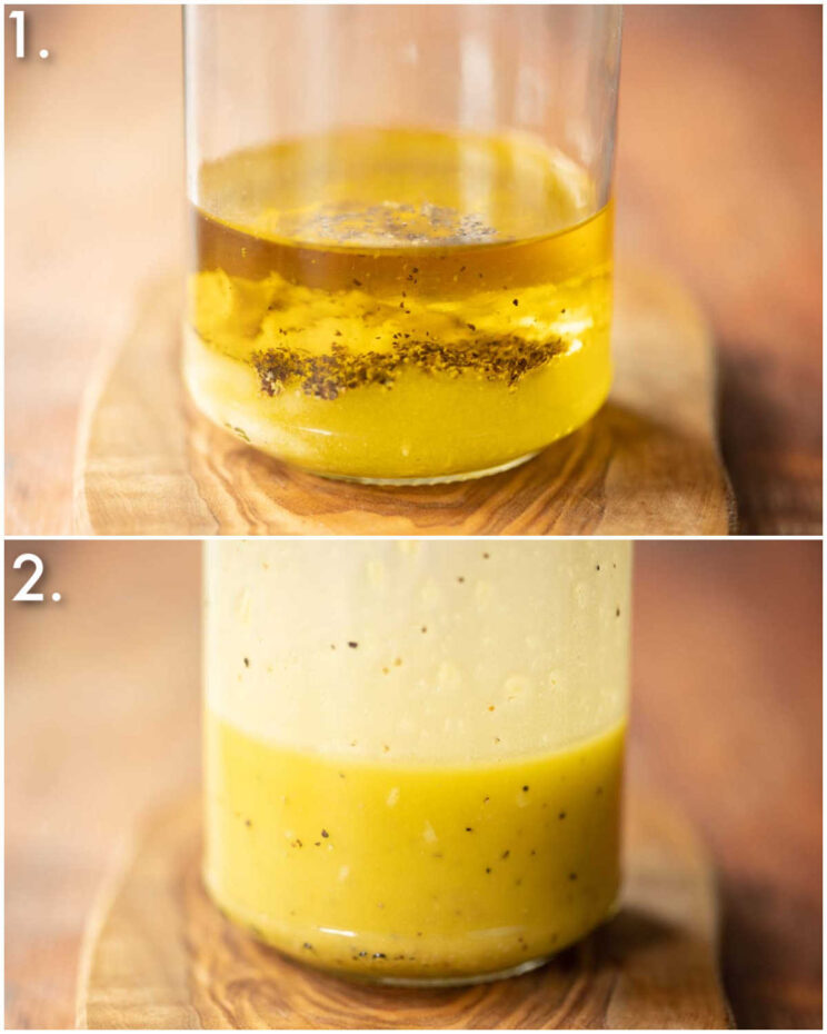 2 step by step photos showing how to make oil dressing for potato salad