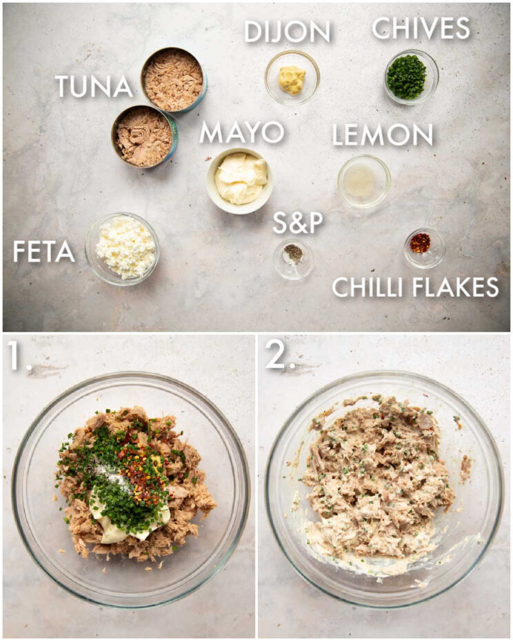 3 step by step photos showing how to make tuna mayo