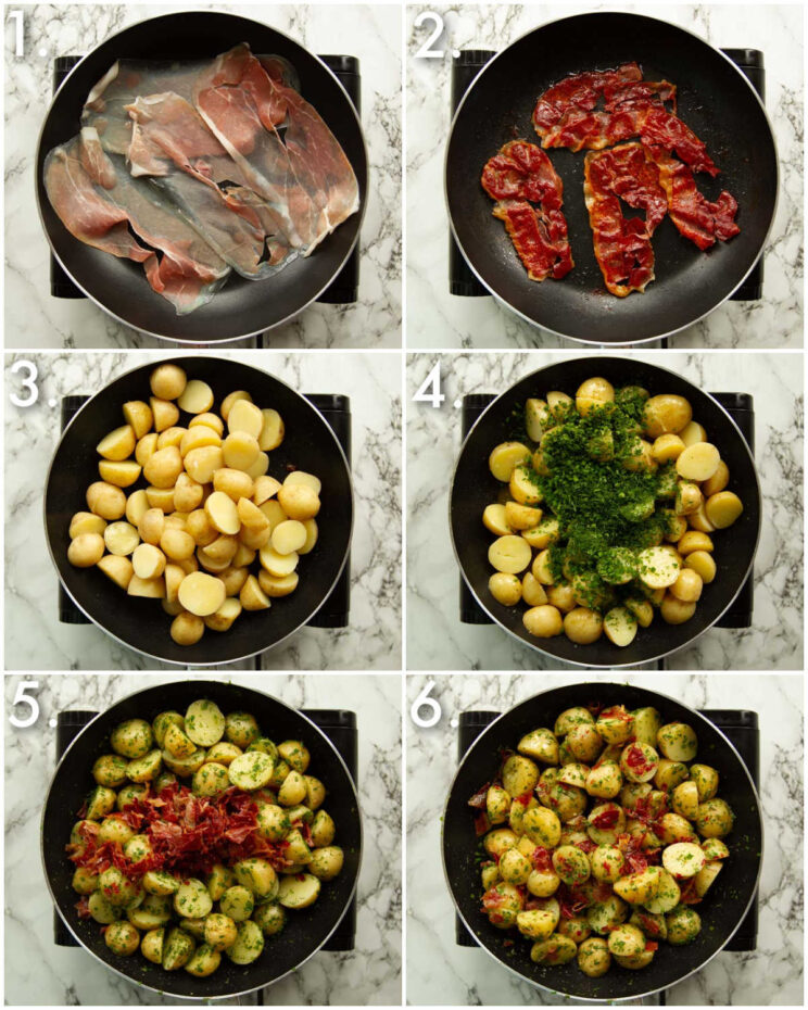 6 step by step photos showing how to make a warm herb potato salad