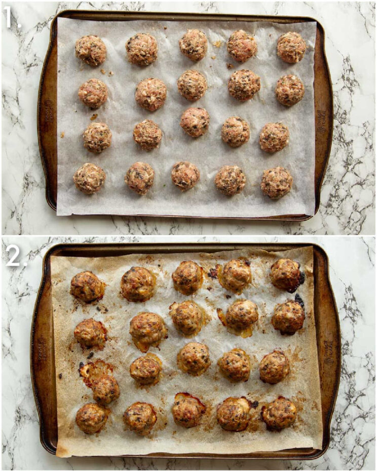 2 step by step photos showing how to bake breakfast meatballs