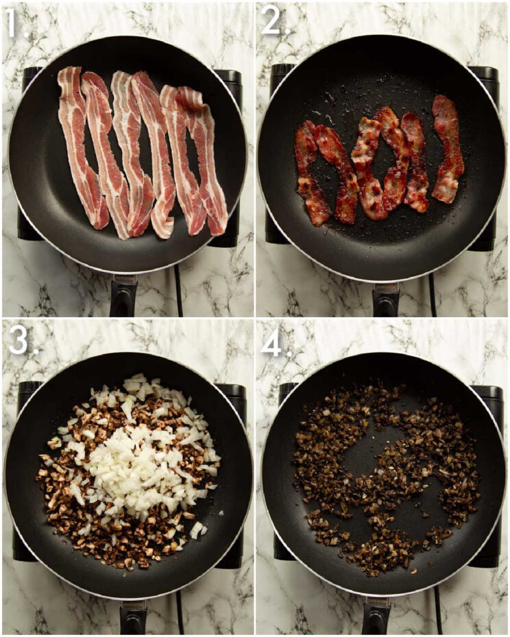 4 step by step photos showing how to fry bacon and mushrooms