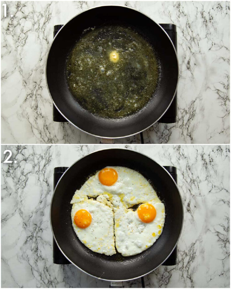 2 step by step photos showing how to fry eggs in butter