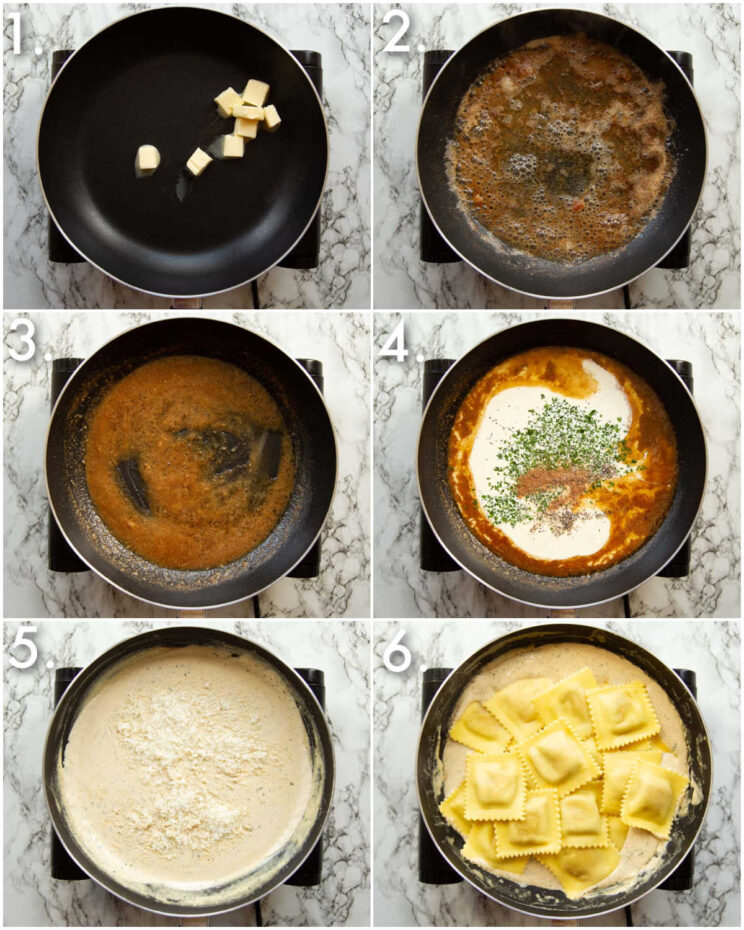 6 step by step photos showing how to make a cream sauce for ravioli