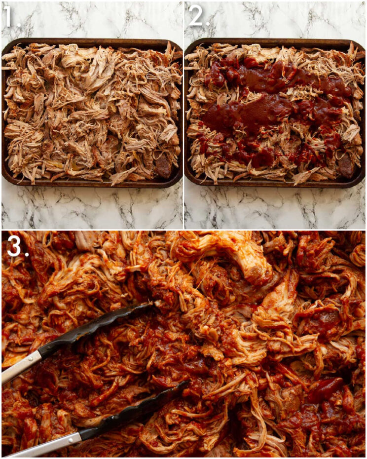 3 step by step photos showing how to make bbq pulled pork