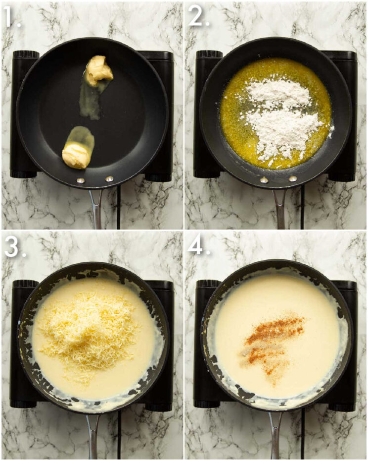 4 step by step photos showing how to make bechamel sauce with gruyere