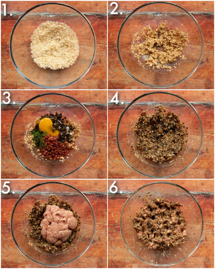 6 step by step photos showing how to make breakfast meatballs