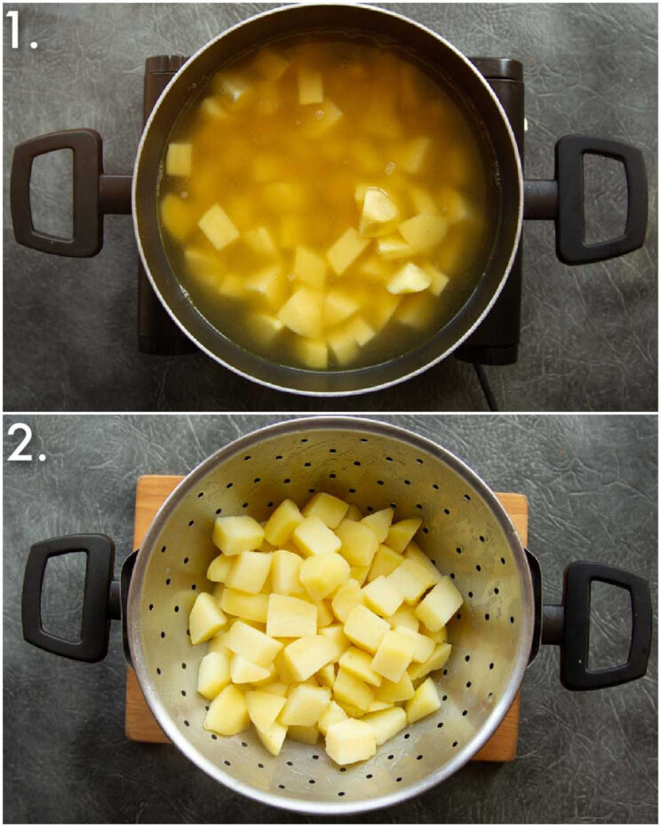 2 step by step photos showing how to make chicken stock potatoes