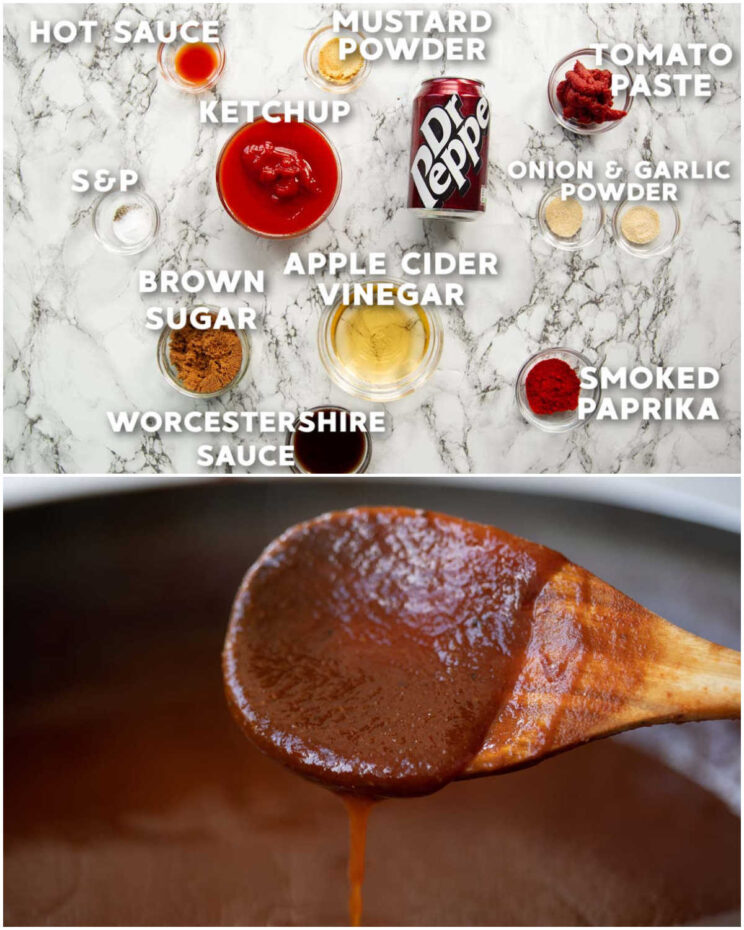 2 step by step photos showing how to make dr pepper bbq sauce