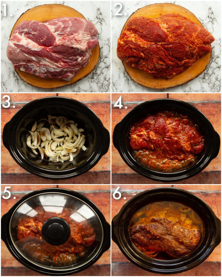 6 step by step photos showing how to make dr pepper pulled pork