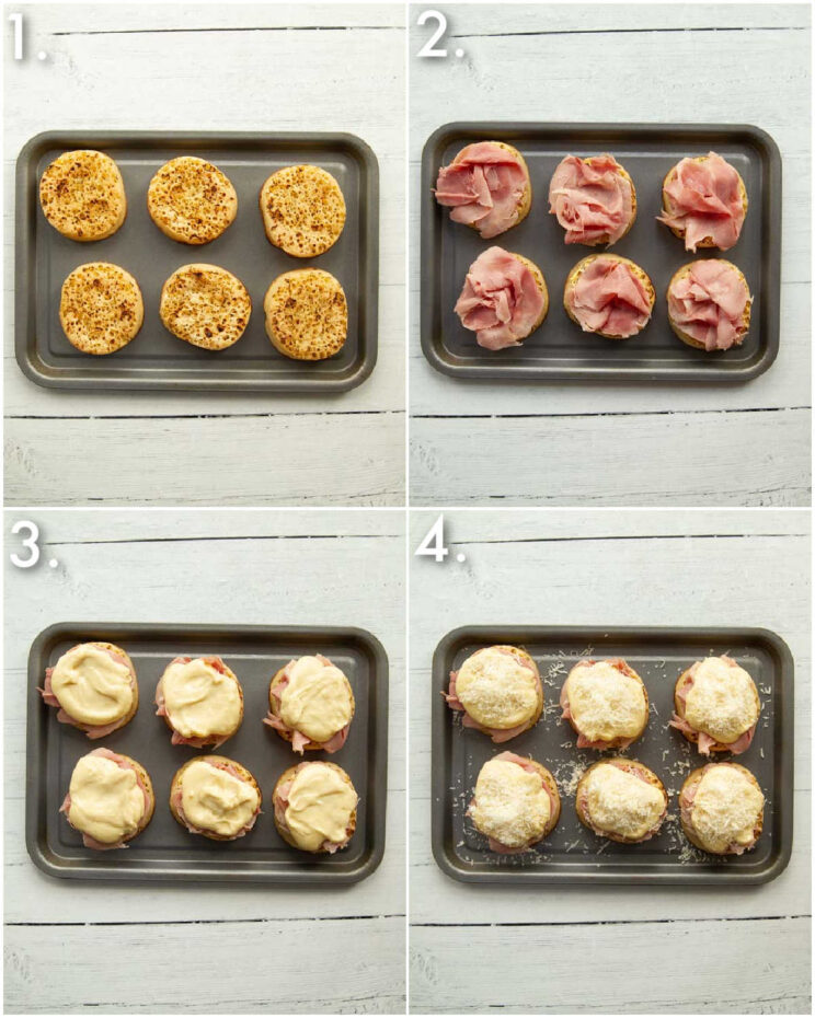 4 step by step photos showing how to make madame crumpet