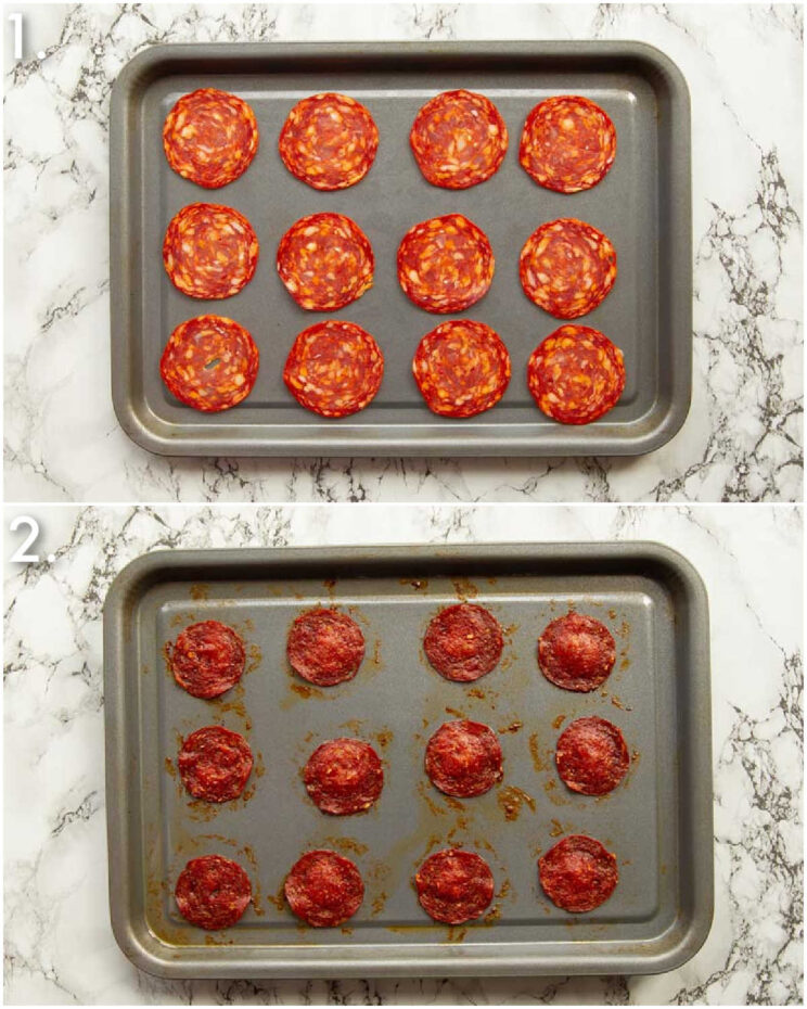 2 step by step photos showing how to make pepperoni chips